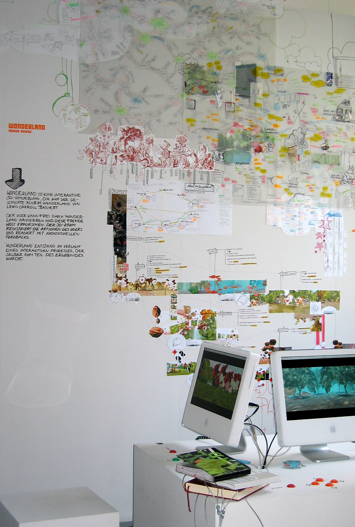 Photo with installation view of Wonderland Project