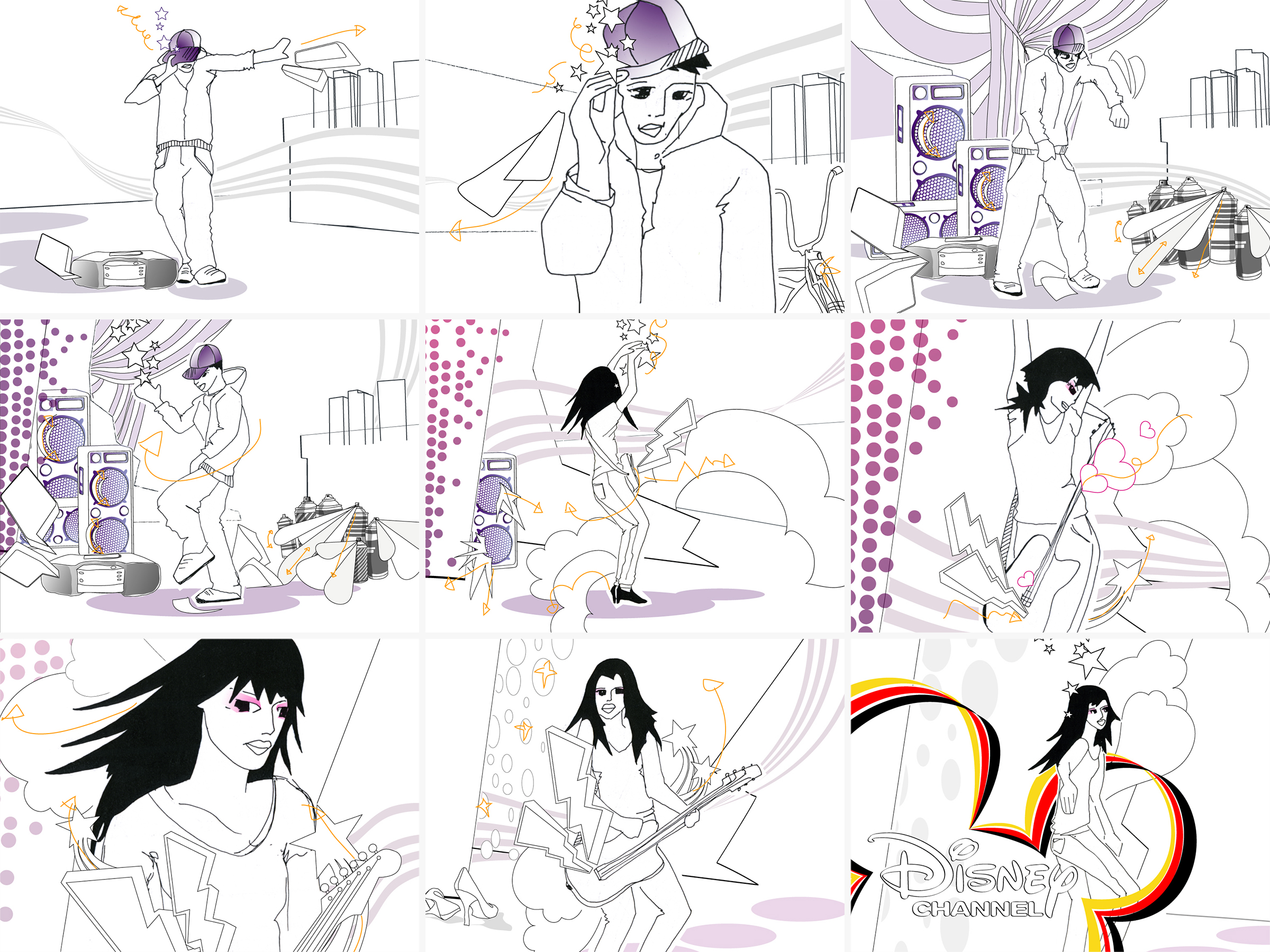 Storyboard for Disney Channel Germany: Music