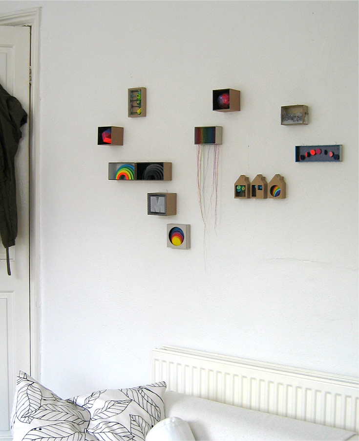 Installation view: Cardboard boxes