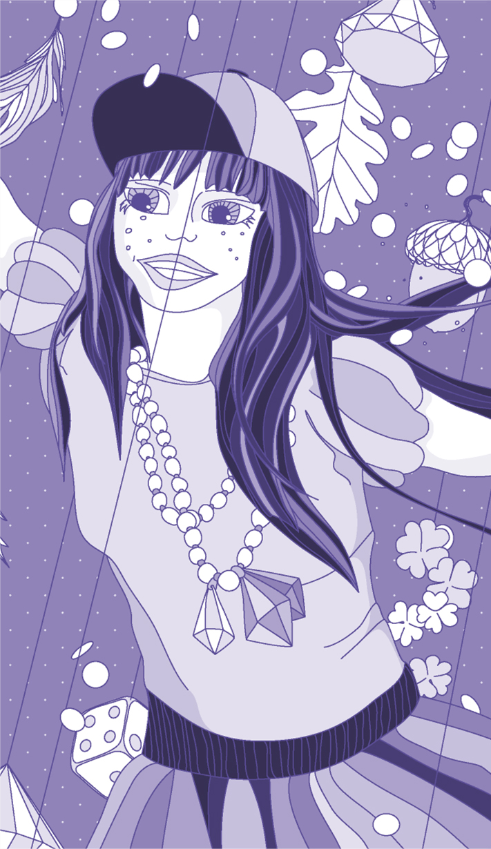 Illustration: Girl with lucky charms
