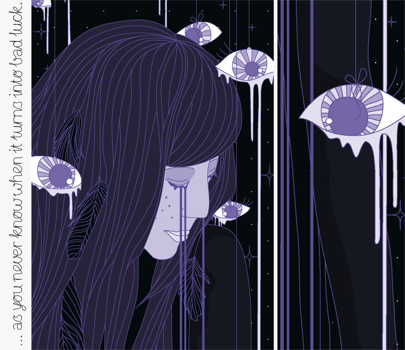 Illustration: Girl with long hair crying