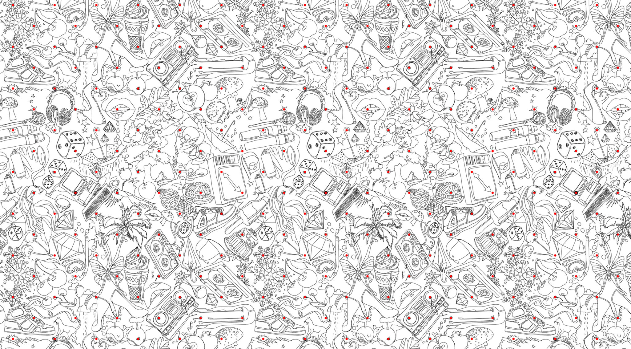 Repetitive allover pattern with black and white line illustration