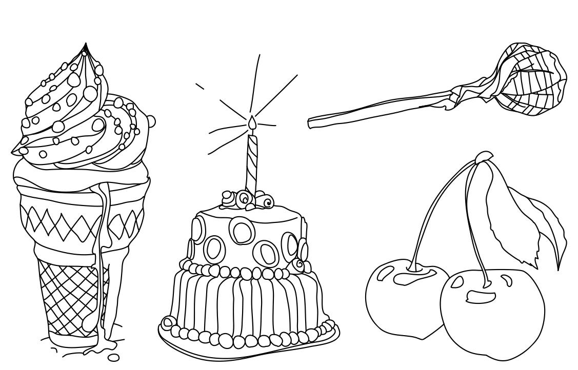 Illustration: Ice cream, birthday cake, cherries, lollipop