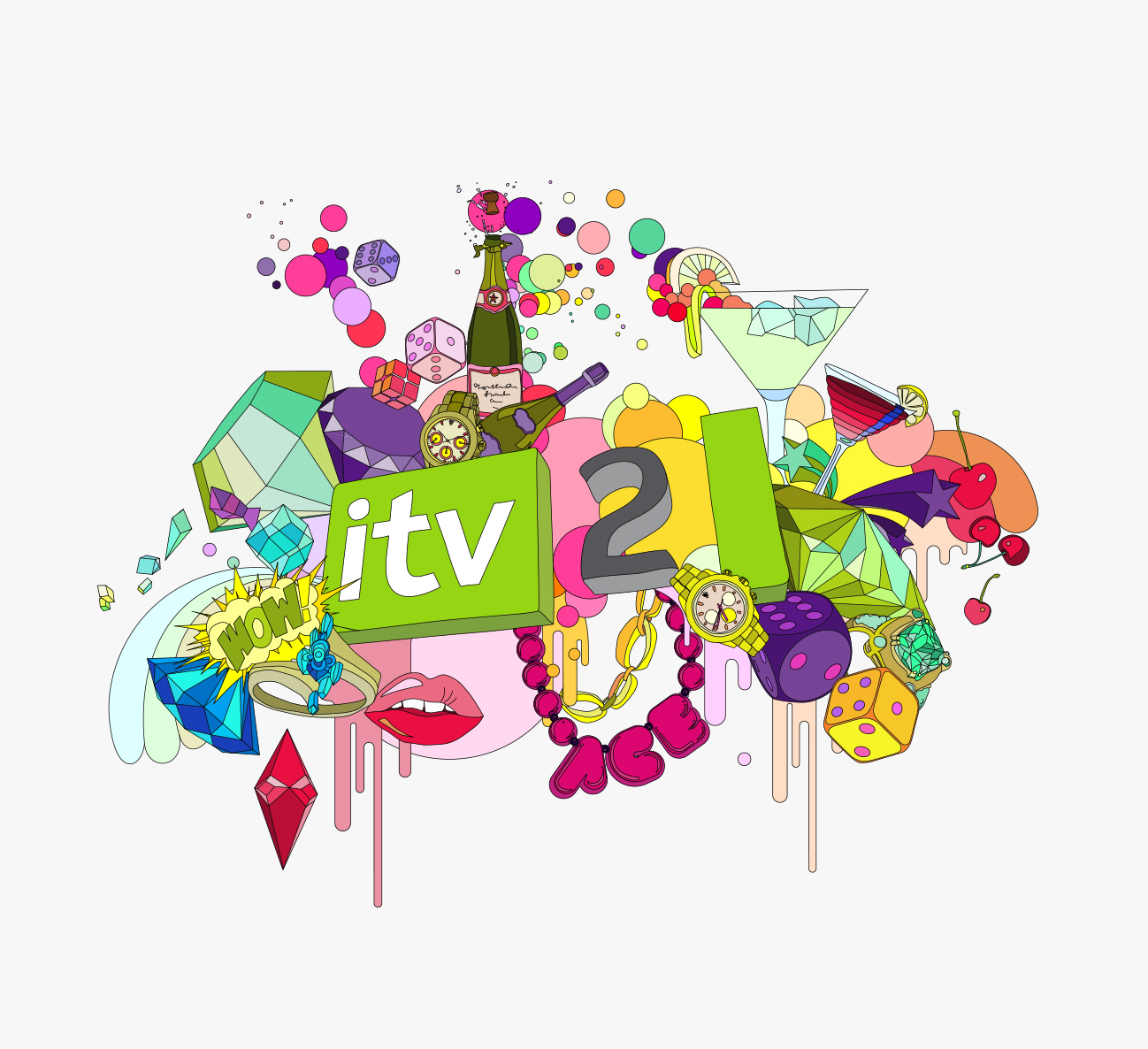 Glitter Litter:Vector illustration for ITV 2