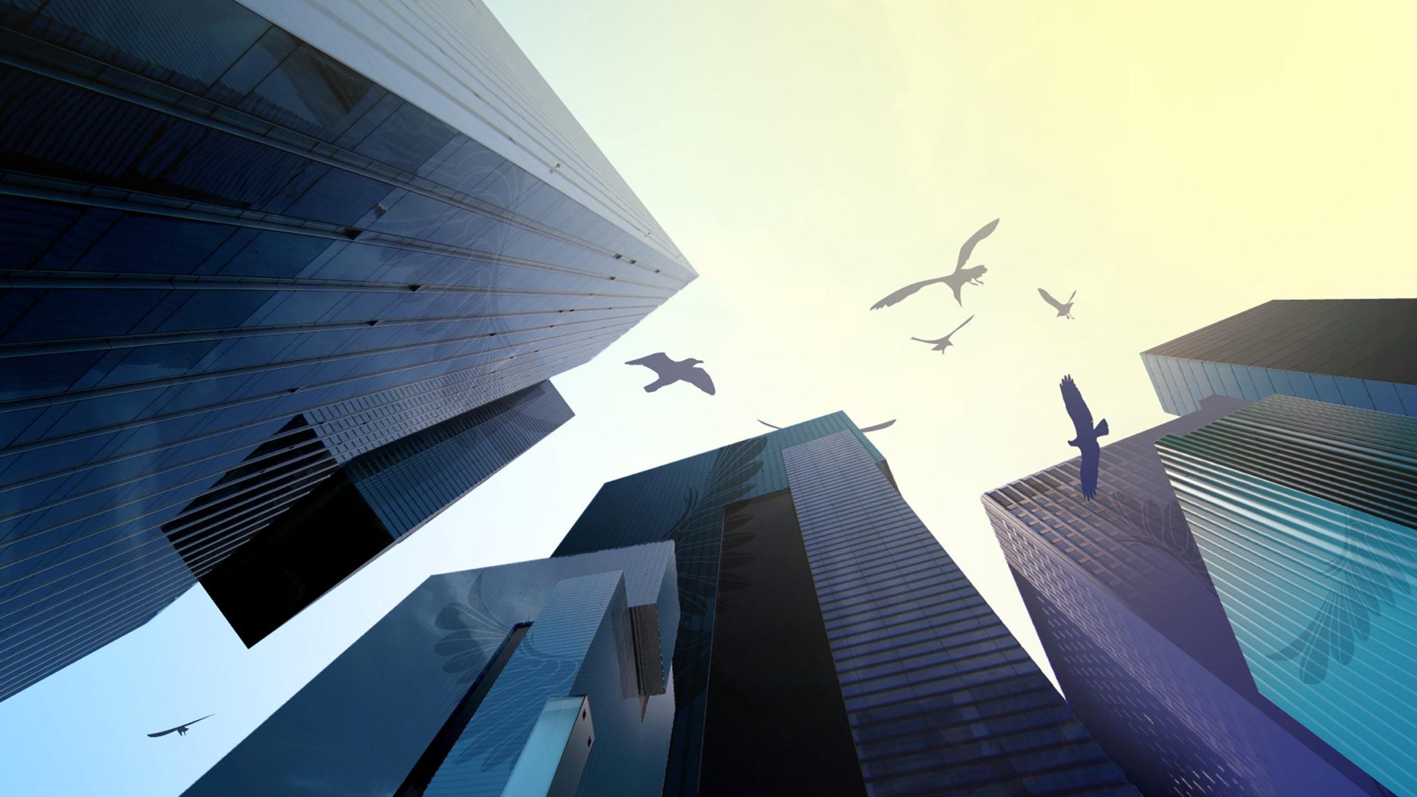Styleframe: Birds between skyscrapers