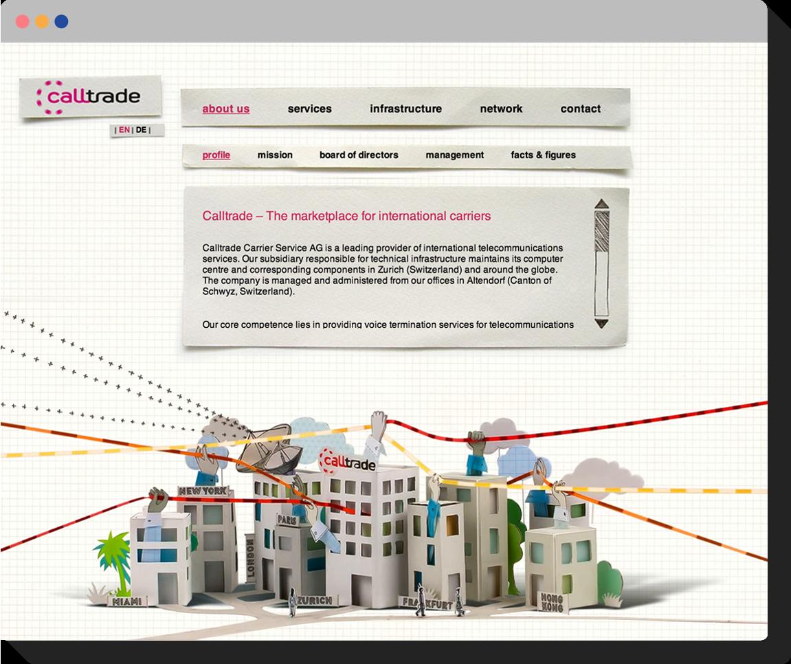 Screenshot: Calltrade website with animated illustration