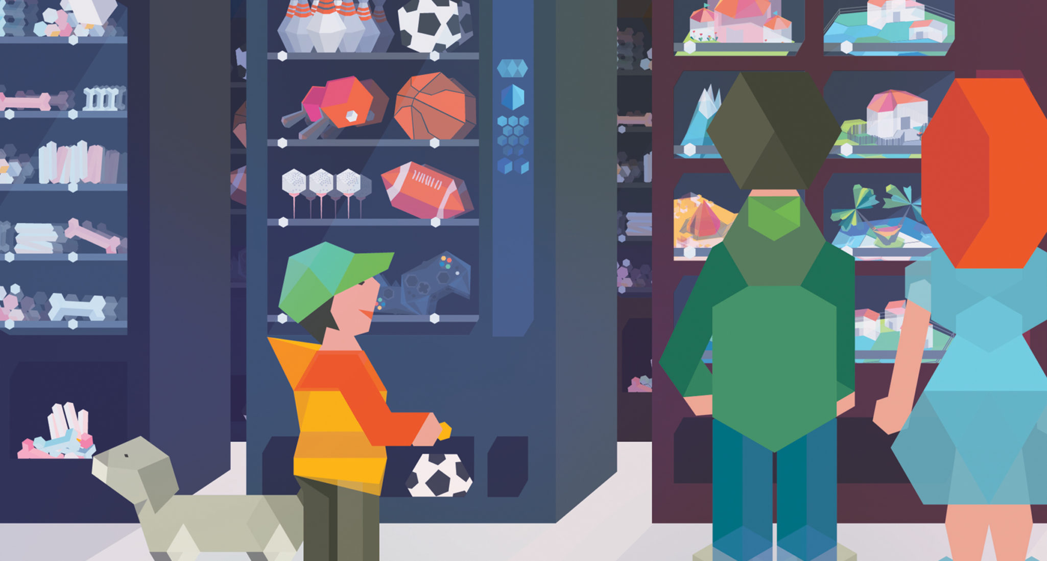 Vector illustration: People in front ov vending machines