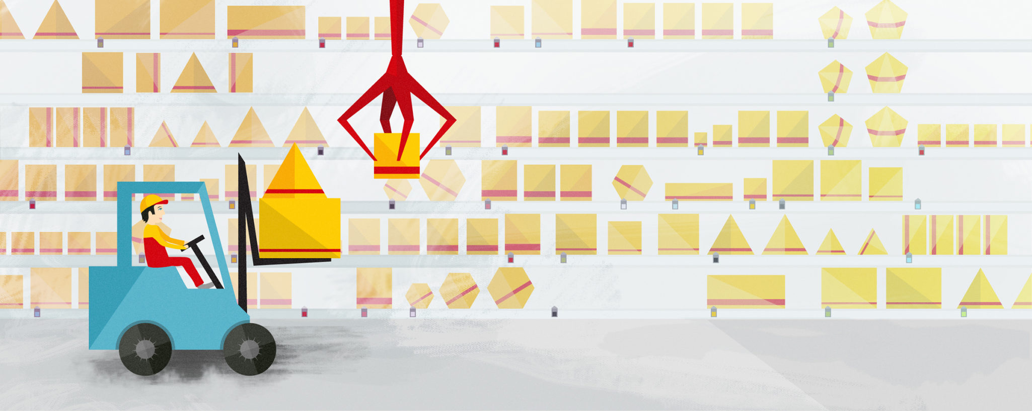 Styleframe illustration for DHL animation: Logistic center