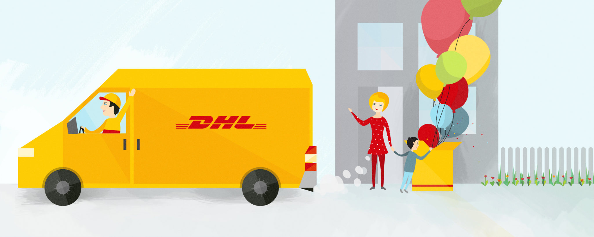 Styleframe illustration for DHL animation: Delivery + birthday