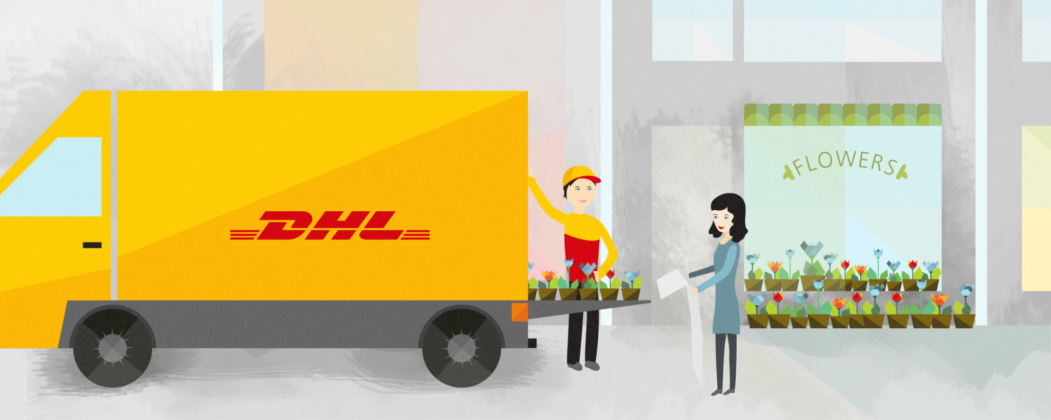 Styleframe illustration for DHL animation: Delivery + flowershop