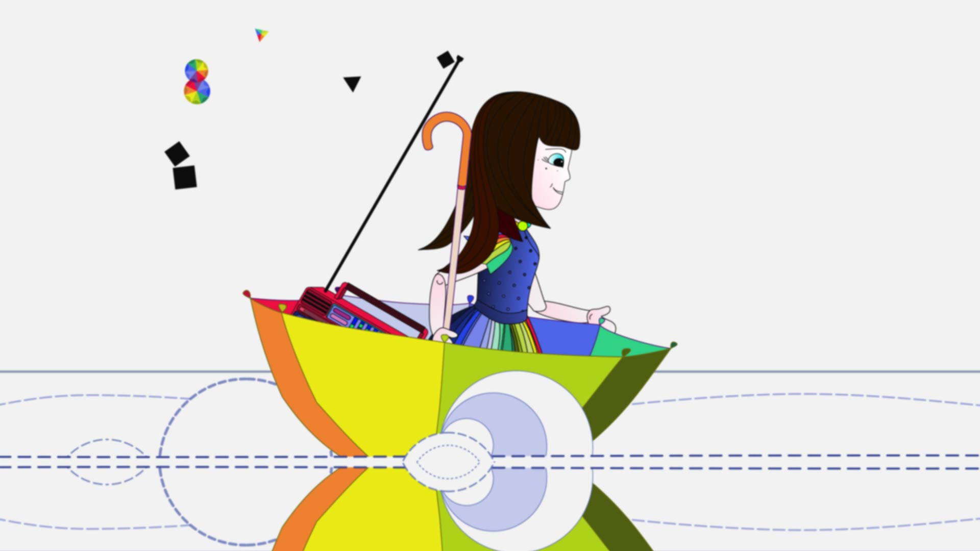 Still frame of animated music video