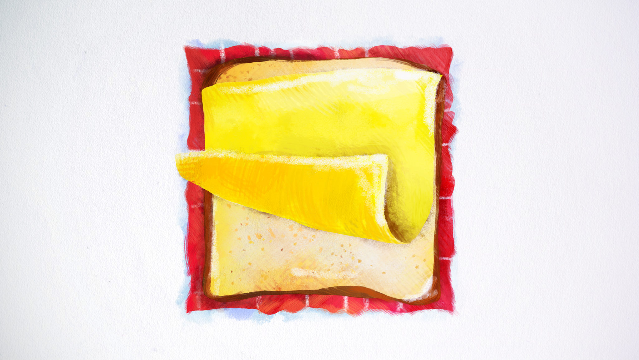 Styleframe hand painted: Bread and cheese