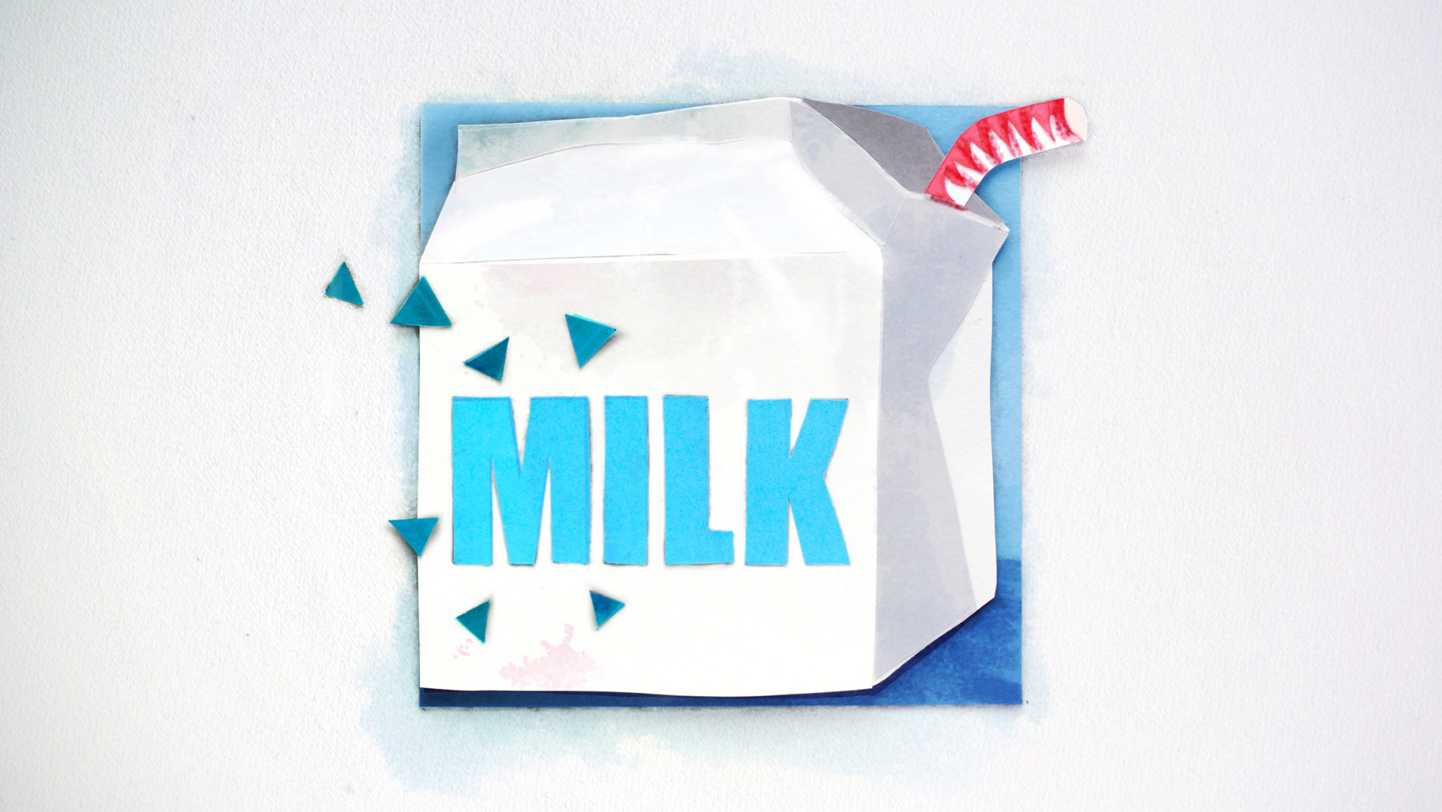 Styleframe in collage technique: Milk carton