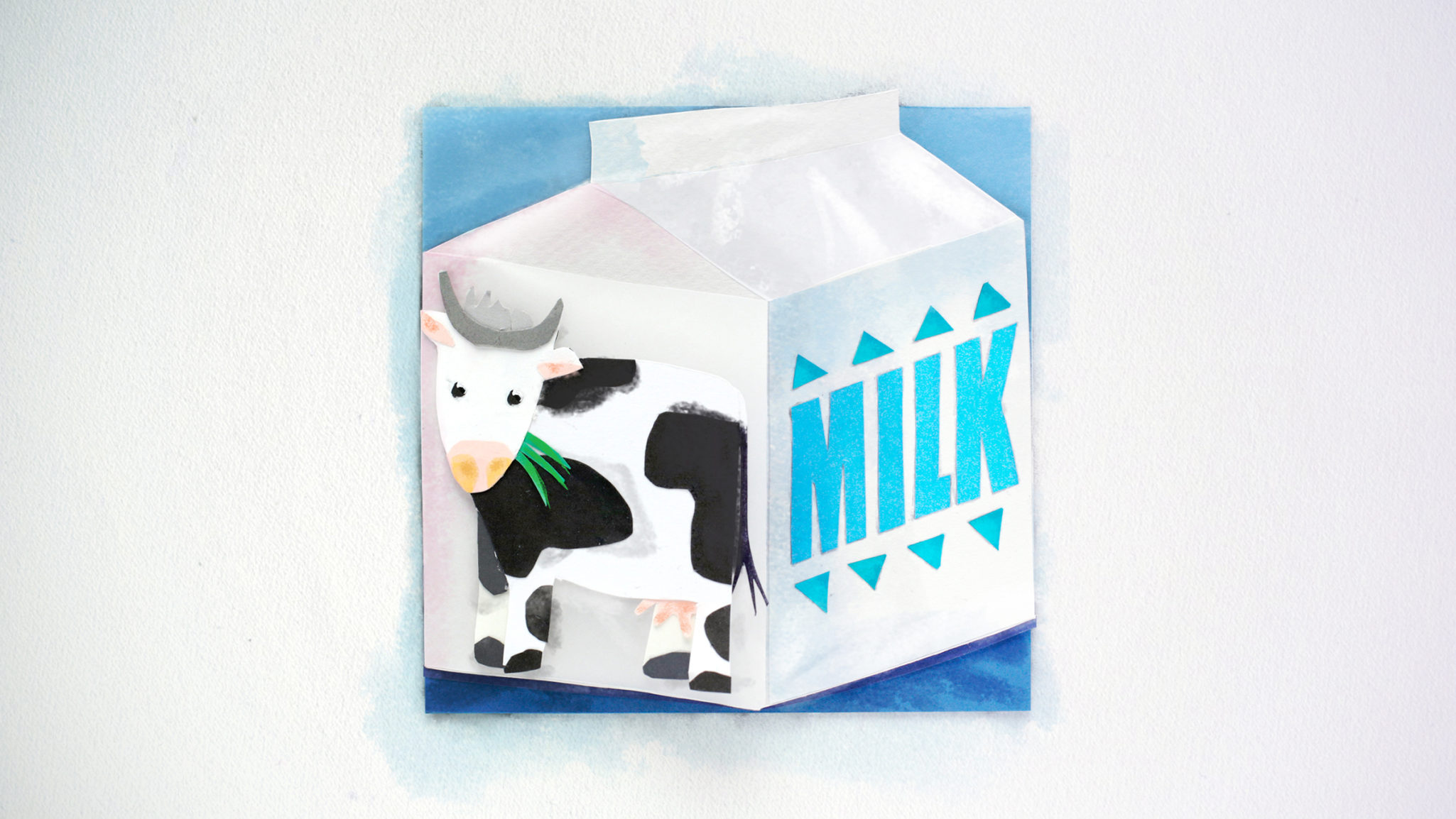 Styleframe in collage technique: Milk carton and cow
