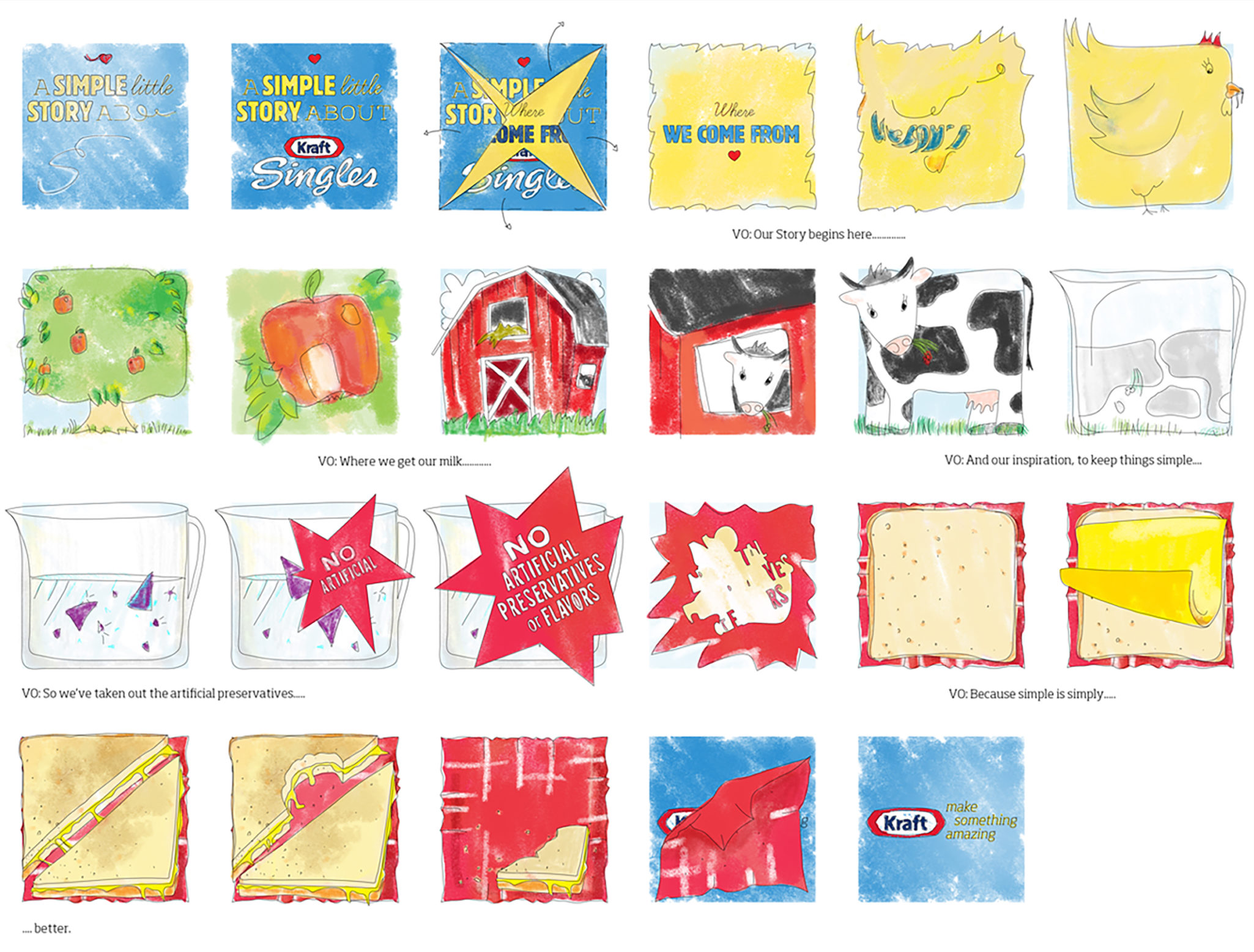 Storyboard for animated commercial: Kraft Singles