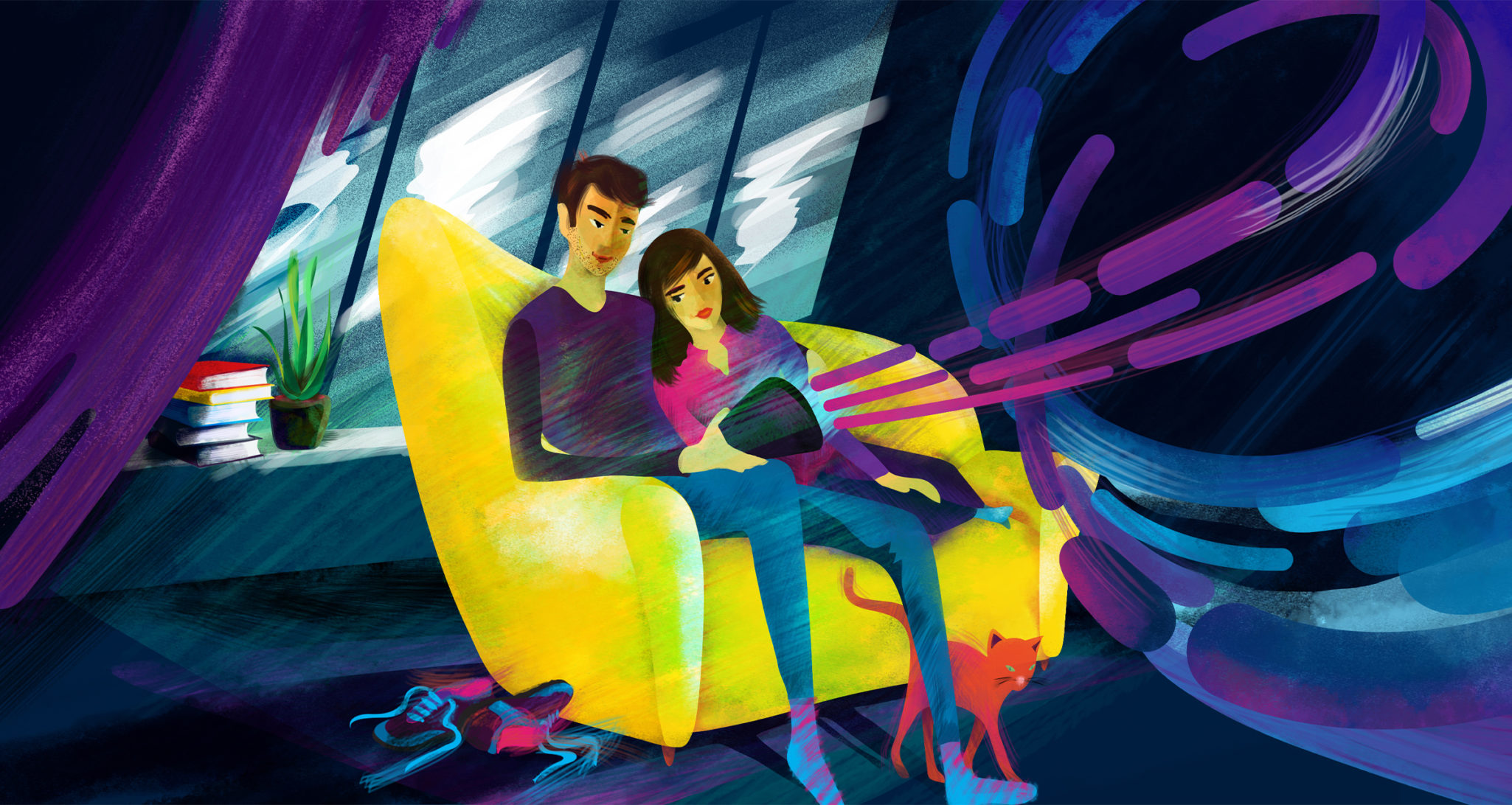 Styleframe detail for animated TV commercial: Couple on the sofa