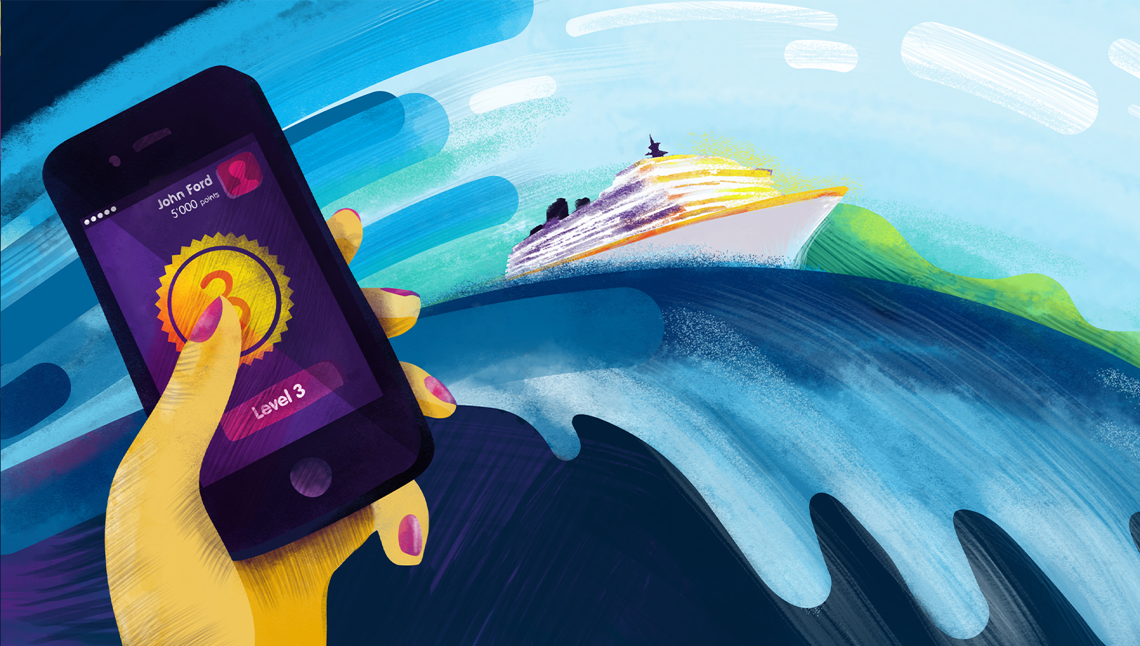 Styleframe detail for animated TV commercial: Smart phone and cruise ship