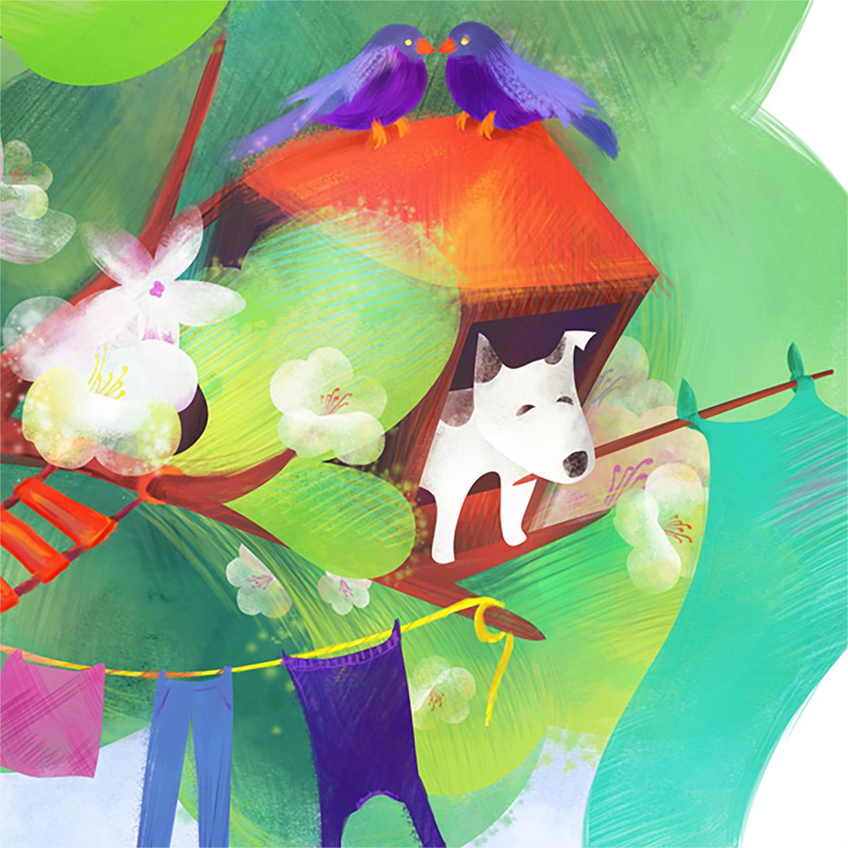 Illustration detail: Dog and birds