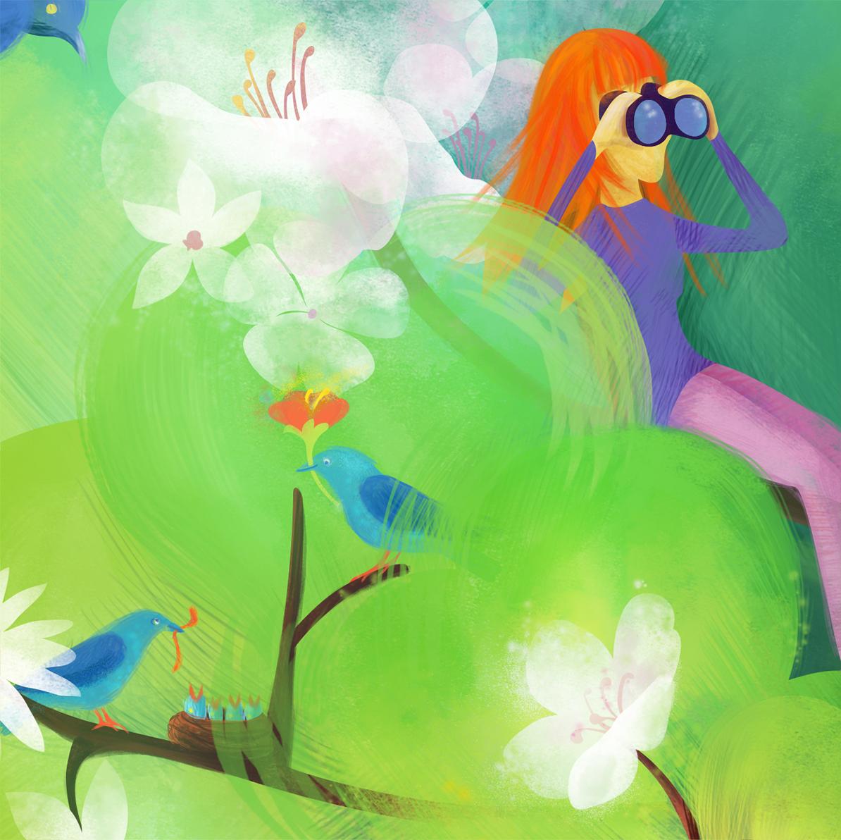 Illustration detail: Girl with binoculars