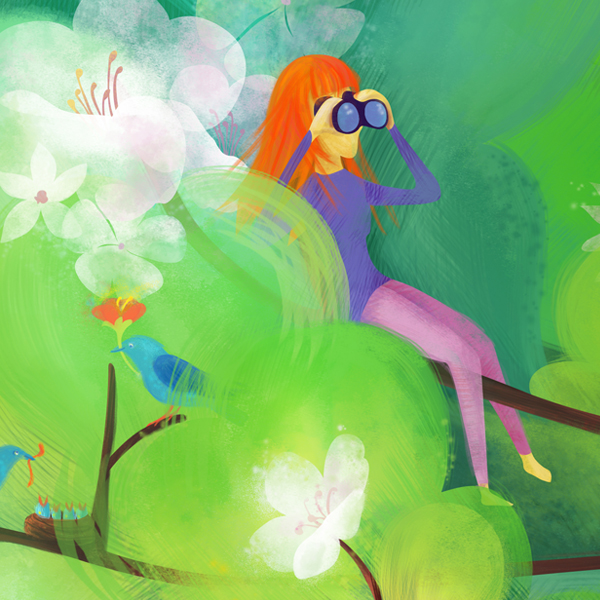 Illustration: Girl with binoculars sitting in a tree