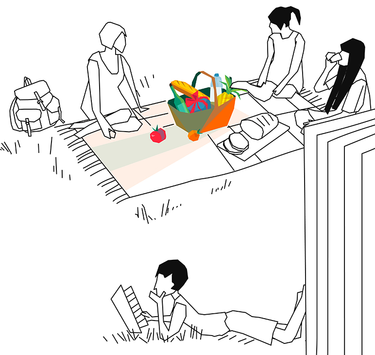 Illustation: Girl's picknick in the park and reader
