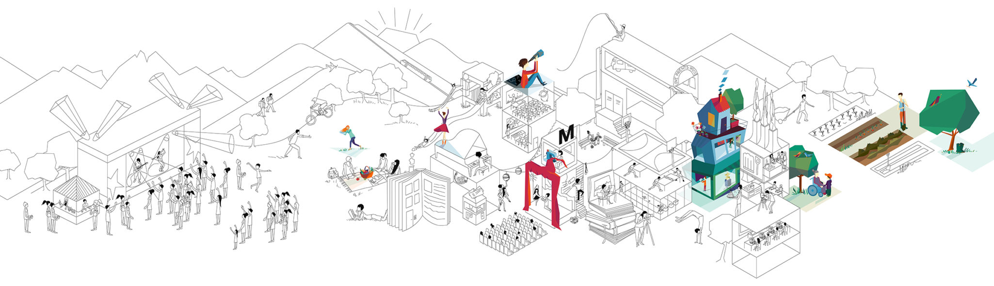 Wimmelbild illustration for Migros' Cultural Percentage