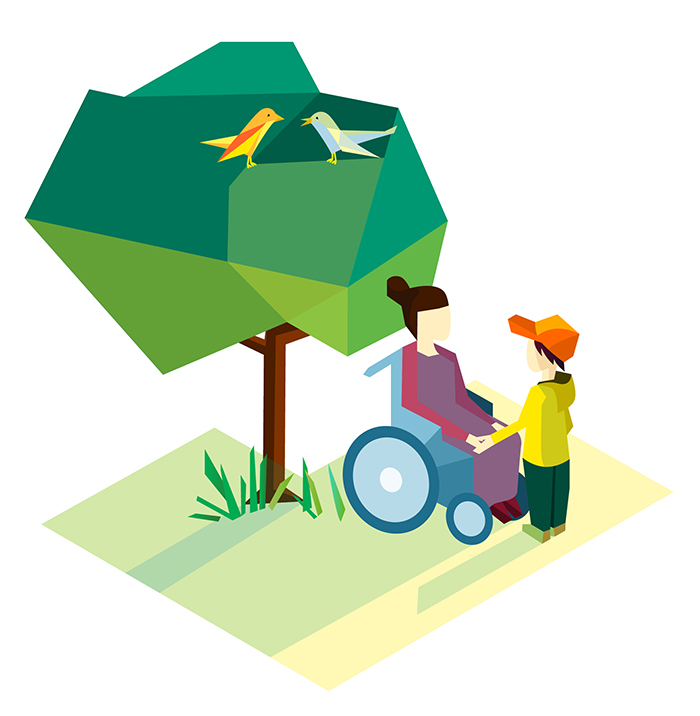 Illustration: Tree, grandma in wheelchair and grandson