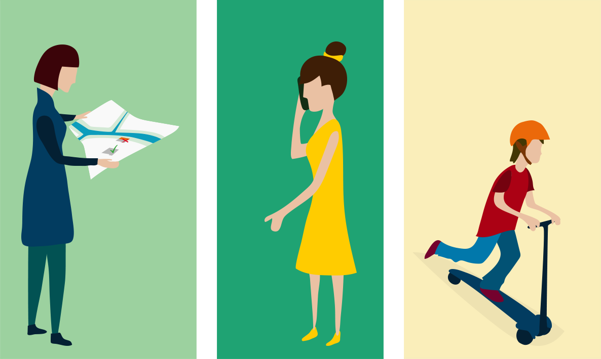 Character design for animated explainer video: builder, woman on cellphone, boy on kickboard