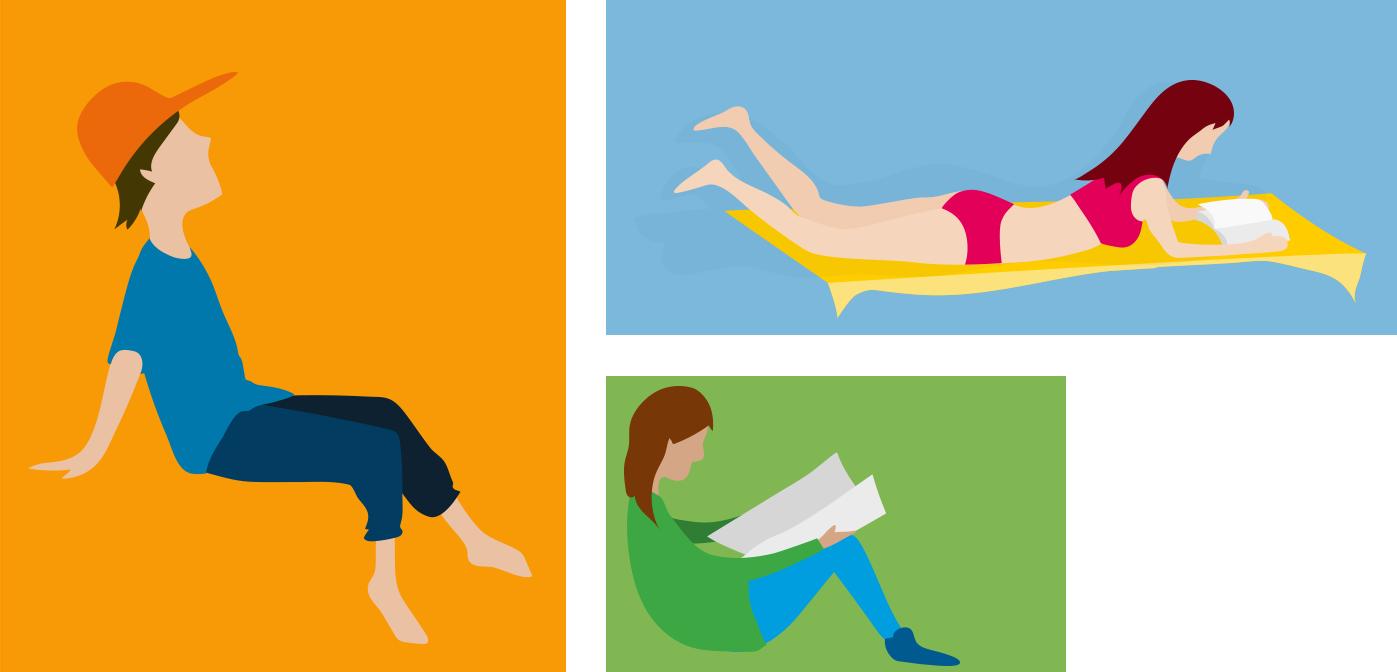Character design for animated explainer video: single man, reading women