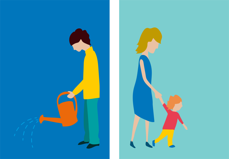 Character design for animated explainer video: Gardener, mother with child