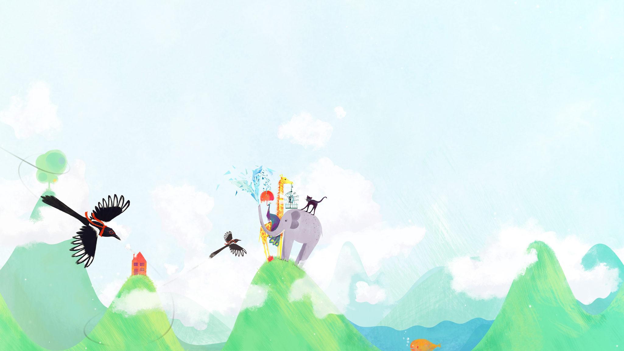 Styleframe: Magpie, cat, elephant, giraffe, peacock, fish and hedgehog