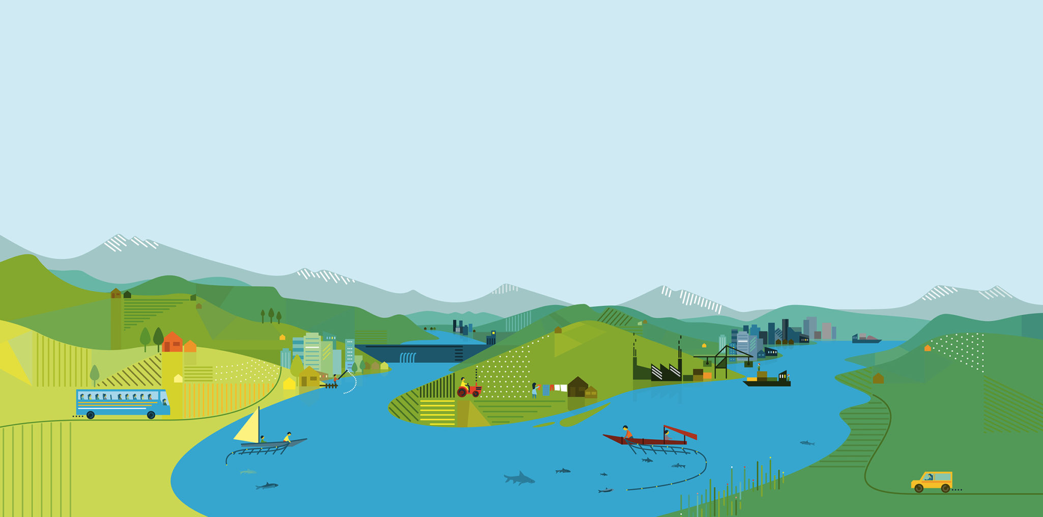 Vector Illustration: Jinsha River Bend