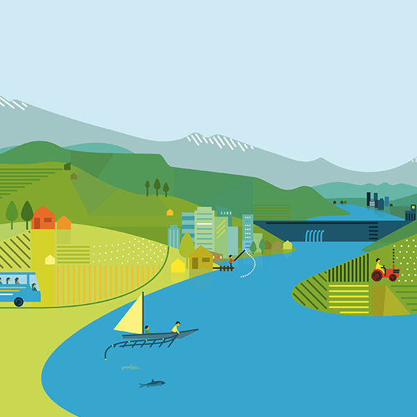 Vector Illustration: Jinsha River Bend