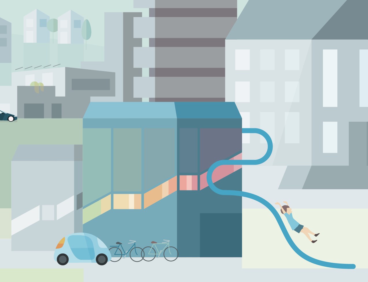 Vector Illustration detail: Kindergarden, electric car, bikes