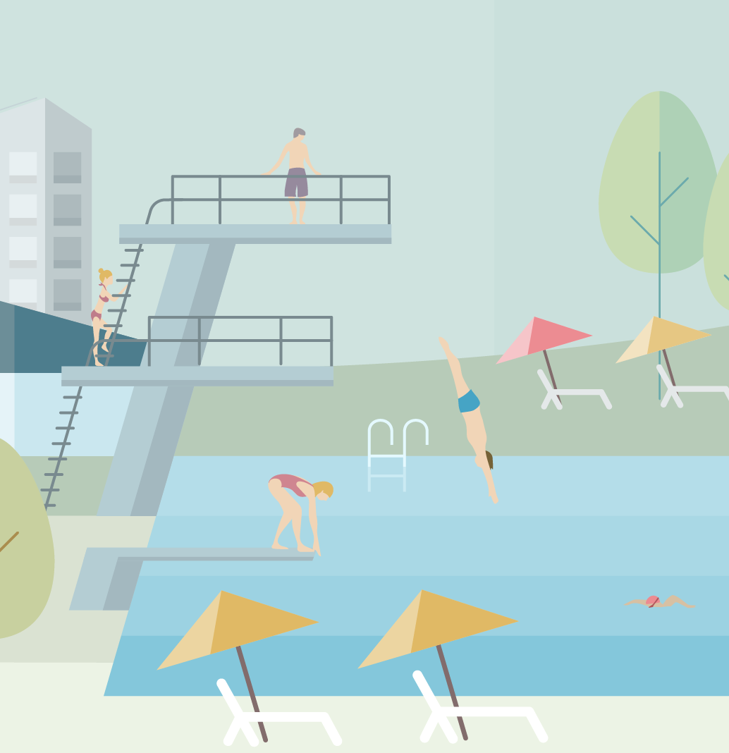 Vector Illustration detail: diving platform at the open air swimming pool