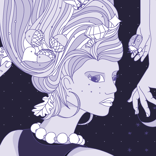 Illustration detail: Girl with lucky charms