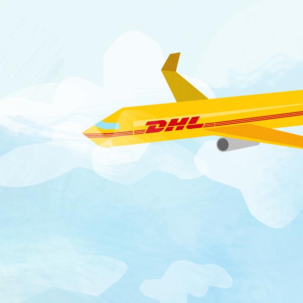 Styleframe illustration for DHL animation: Cargo plane
