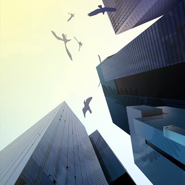 Styleframe: Birds between skyscrappers