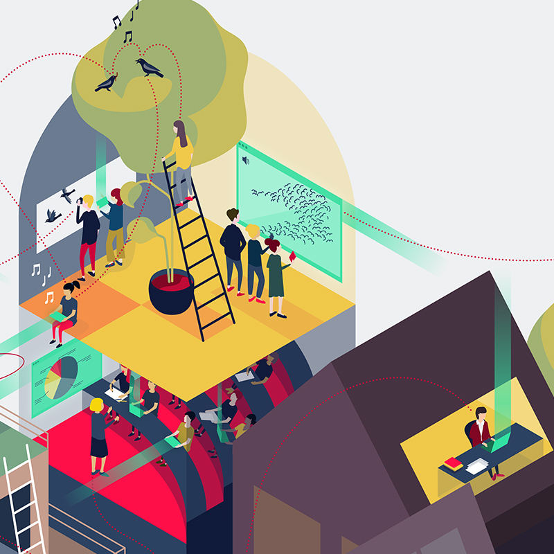 Isometric illustration: Reserach, Lecture, Home Office